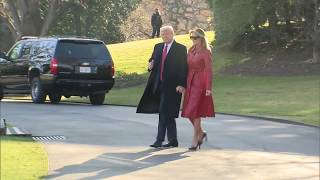 PRESIDENTIAL DEPARTURE: President Trump and Melania Trump Marine One Departure