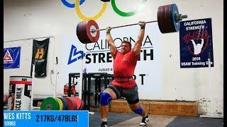 Wes Kitts Hits a 217kg/478lbs Clean & Jerk (PR)