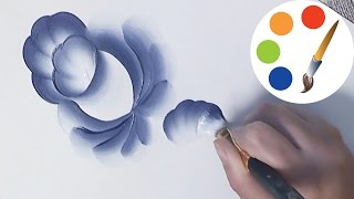 Gzhel, Painting the blue flower step by step, irishkalia