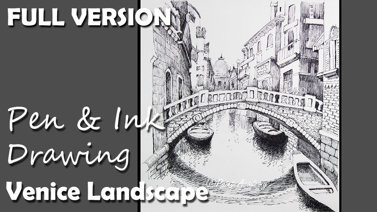 Pen ink drawing venice landscape full version