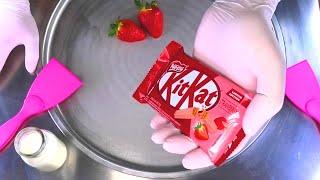 Ice Cream Rolls | how to make KitKat & Strawberry Chocolate Ice Cream with fresh Strawberries | ASMR