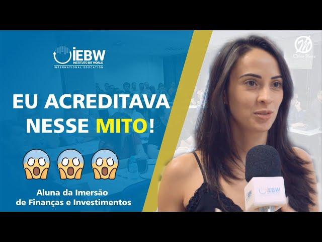 Comentário Aluna Danubia. Curso de Formação em finanças e Investimentos no Instituto IEBW Curitiba.