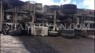 Շիրակի մարզի Քեթիի ոլորաններում վրացական համարանիշներով բեռնատարը կողաշրջվել է