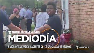 Unos vecinos se vistieron de héroes en un redada de ICE | Noticias Telemundo