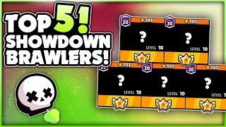 Top 5 BEST Brawlers For SHOWDOWN! - 500+ Trophies Showdown Gameplay! - Brawl Stars