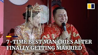7-time best man cries tears of joy on his wedding day
