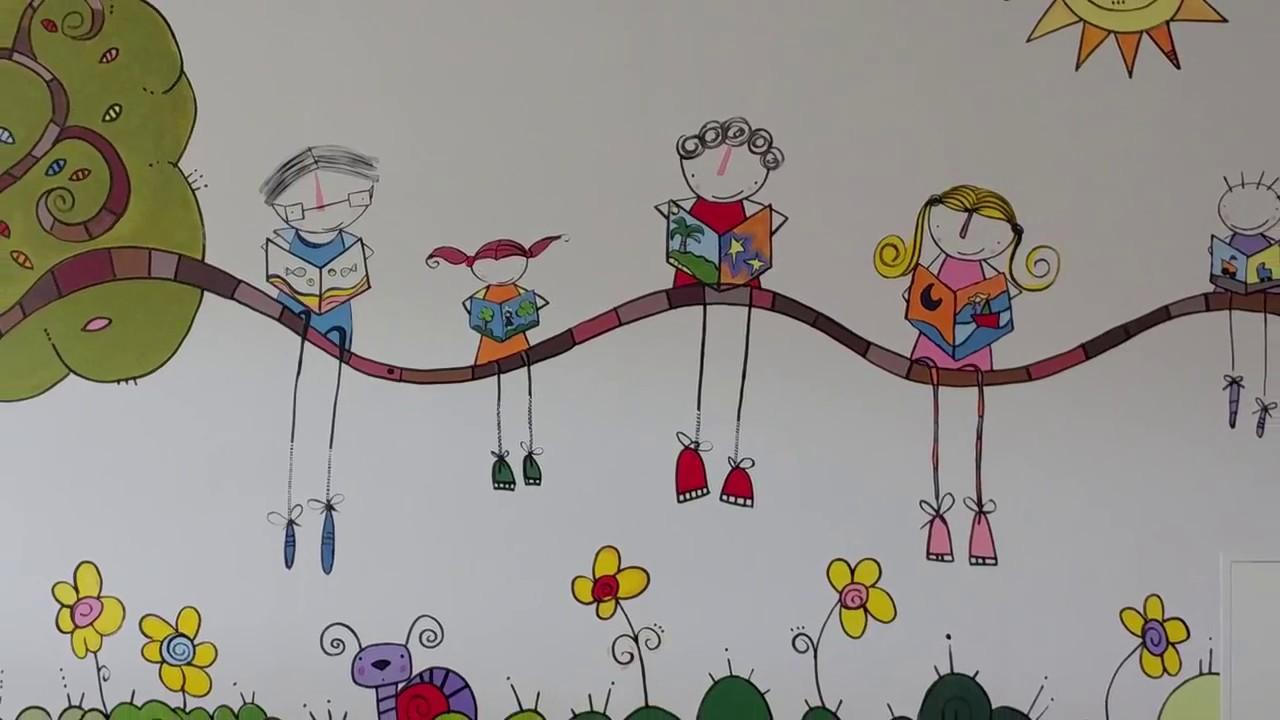 Mural sala infantil biblioteca p blica de segovia youtube for Murales infantiles para preescolar