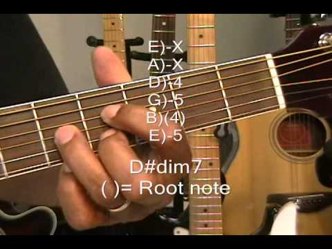 Guitar Chord Tutorial How To Play A Diminished 7th Chord Dim7 On ...