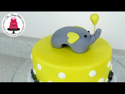 Baby Shower Cakes With Elephants ~ Simple elephant baby shower cake how to with the icing artist