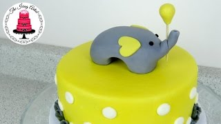 Simple Elephant Baby Shower Cake - How To With The Icing Artist