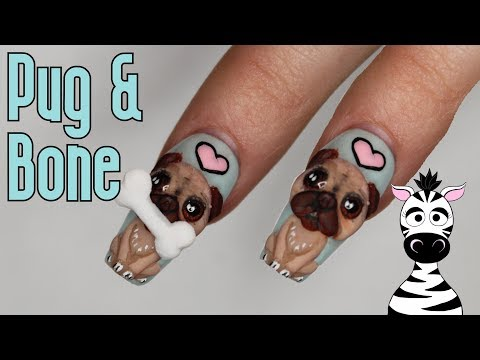 4D Pug with Removeable Bone Acrylic Nail Art Tutorial thumbnail