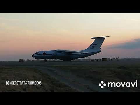 Запуск + руление + взлет российского Ил-76 в аэропорту Гомеля