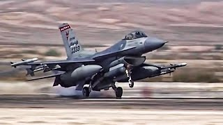 F 16 Fighter Jets Preflight  TakeoffLanding At Nellis AFB