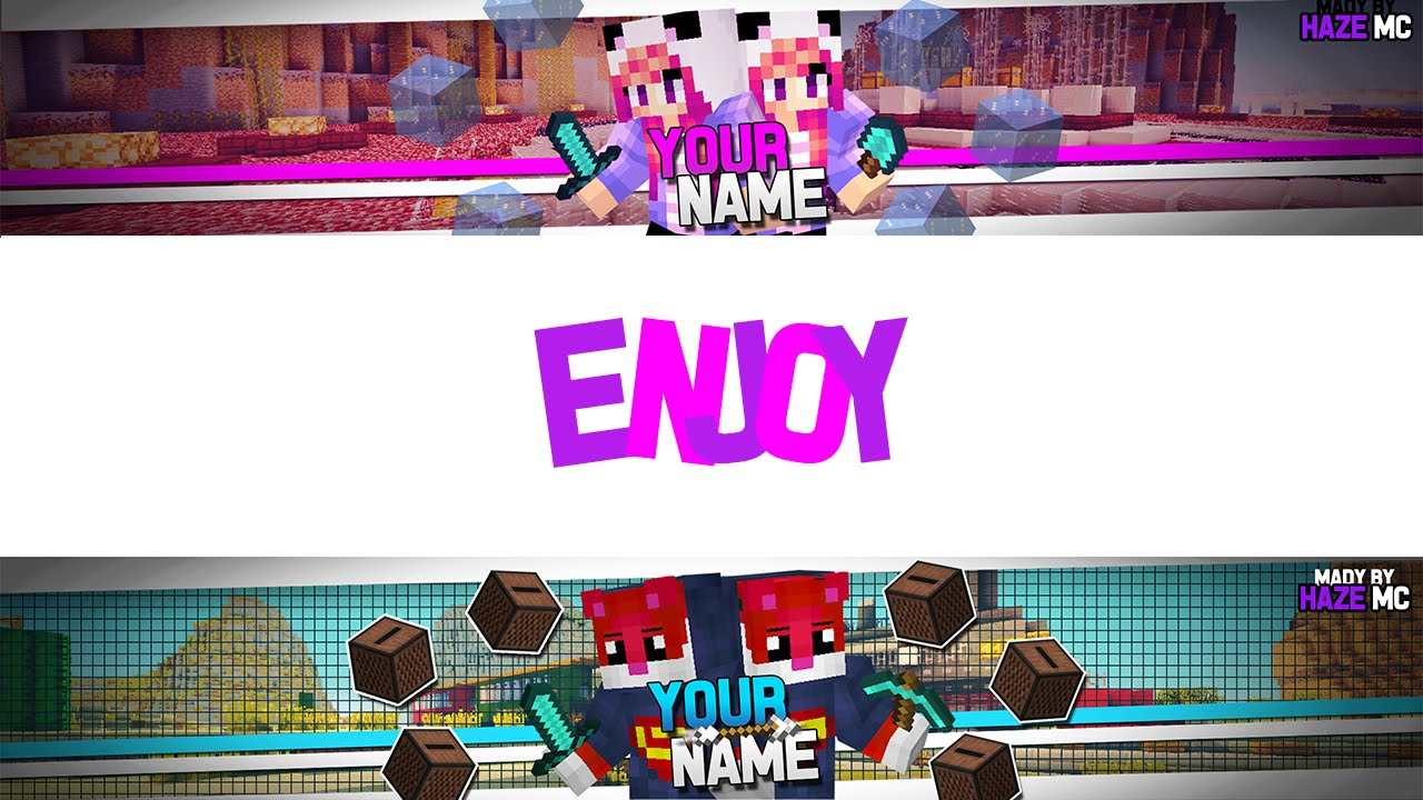 Minecraft | 2 Youtube channel/banner templates! | Photoshop CS6/CC ...