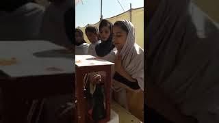 Thari Girl Student presenting model in Laar Scienxe Festival