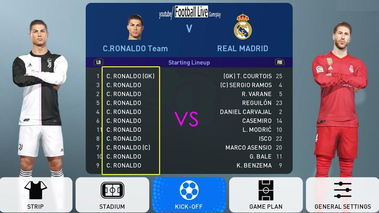 PES 2019 | Team C RONALDO vs REAL MADRID | Full Match & Amazing Goals |  Juventus NEW KITS 2019/2020