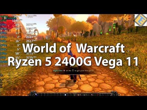 World of Warcraft AMD Ryzen 5 2400G Vega 11 Gameplay Benchmark Test