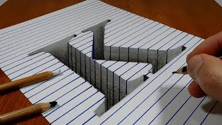 Draw a Letter K Hole on Line Paper - 3D Trick Art