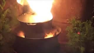 Как обжечь новый чугунный казан. прожариваем с растительным маслом . часть 2