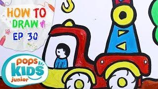 Sắc Màu Tuổi Thơ - Tập 30 - Bé Tập Vẽ Cần Cẩu | How To Draw Rescue Crane For Kids