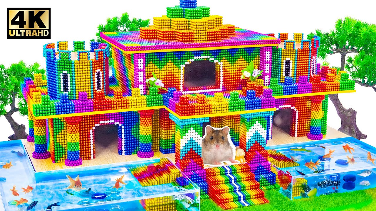 ASMR Video   How To Build Minecraft Palace With Infinity Pool Around For Pets From Magnet Balls