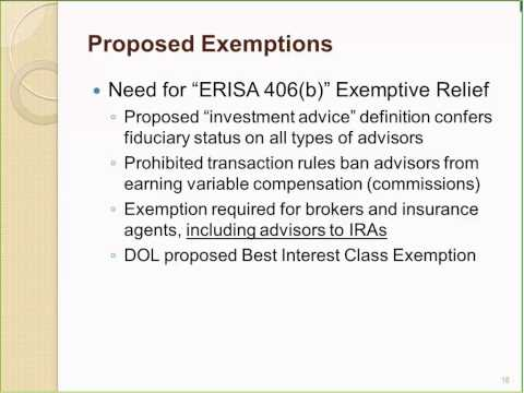 Webinar - DOL Proposal On ERISA Fiduciary Status For Investm