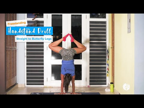 Straight to Butterfly Handstand Drill | YogaSlackers 12 Days of Handstands