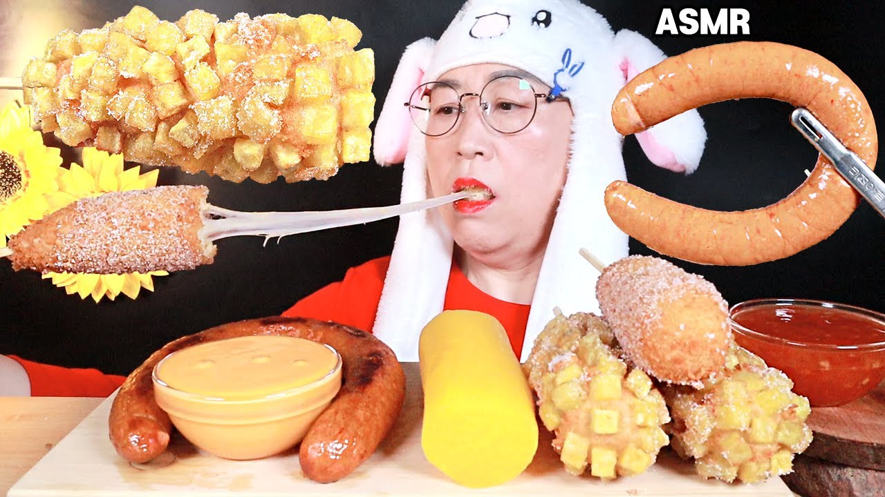 ASMR MUKBANG 치즈 킬바사 소세지& 치즈 명랑핫도그🤣 CHEESE SAUSAGE & MOZZARELLA CORN DOGS EATING SOUNDS!!