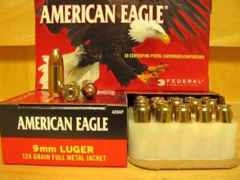 9mm Federal American Eagle 124 Grain FMJ Ammo AE9AP