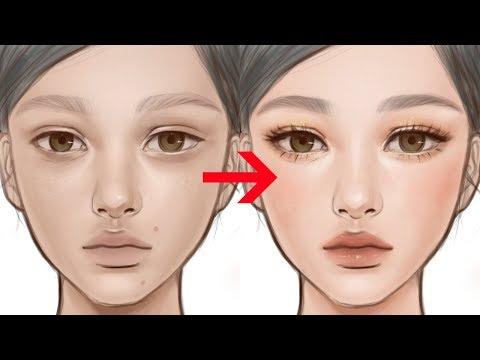 Putting Makeup Using ProCreate! 맨 얼굴 그리기부터 화장 입히기 까지 그림으로 그려보기!