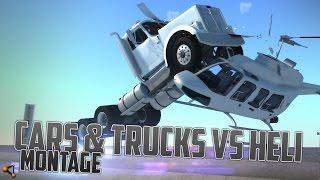 Cars & Trucks VS Heli Compilation - BeamNG.Drive Revolutionary Soft-Body Physics [HD]