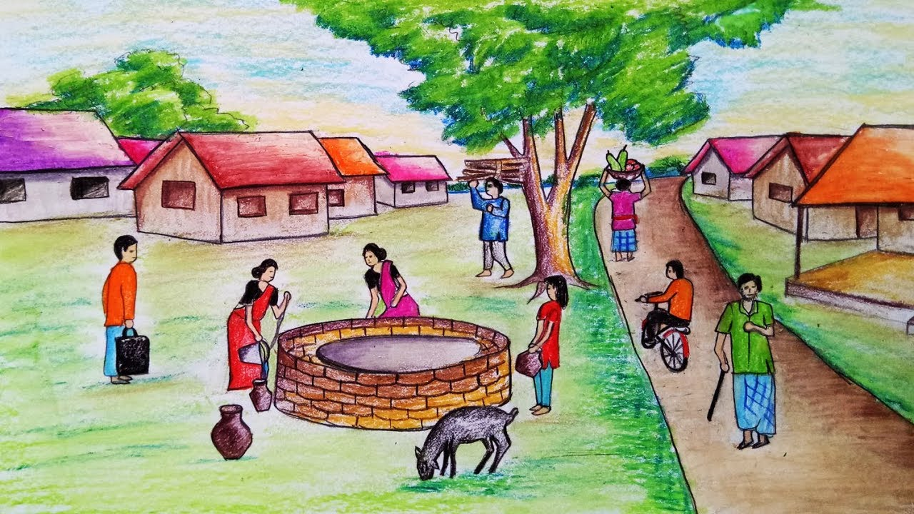 How To Draw Scenery Of People Busy In The Village Step By Step Easy