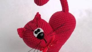 Амигуруми: схема Сердце - Кот. Игрушки вязаные крючком! Free crochet patterns.