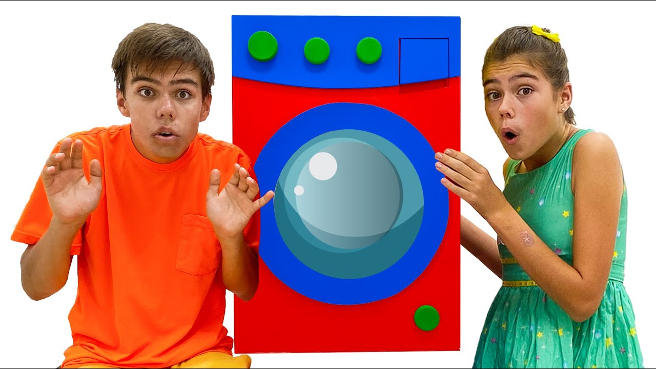 Nastya and Artem pretend play with toy washing machine