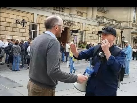 Man Tries To SILENCE Us For Rebuking Organized Religion (Bath Street Preaching And Soul Winning)
