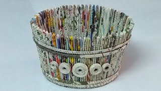 How to make a newspaper basket/DIY newspaper craft