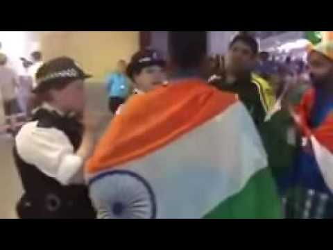 India and Pakistani Cricket fans fight at oval England after champions trophy final 2017