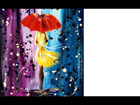 Easy acrylic painting lesson | City Walk Girl in the Rain | Umbrella Art