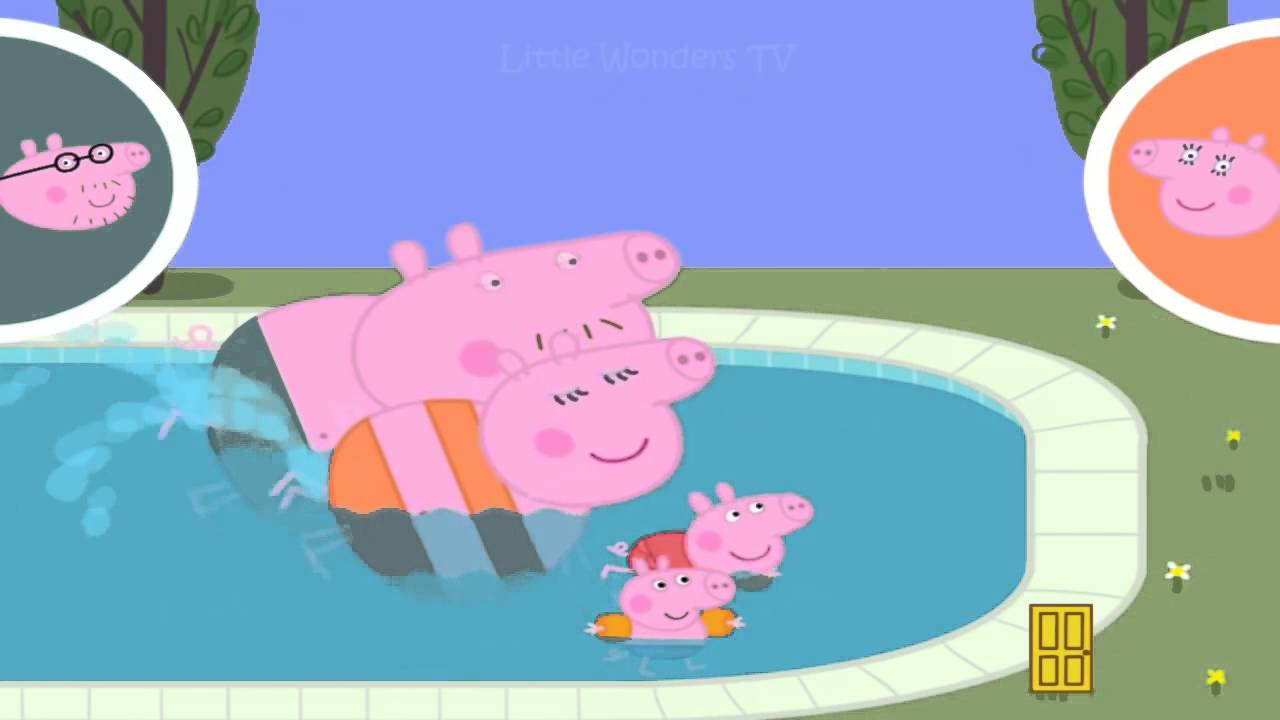 Peppa pig and george pig go swimming with daddy pig mummy pig peppa pig swimming race youtube for Peppa pig swimming pool english full episode