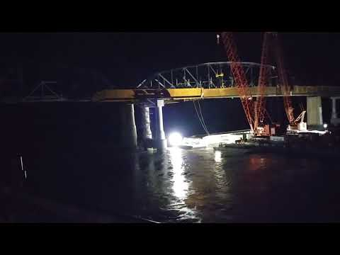 American Queen River Boat Hitting A Bridge Pylon.