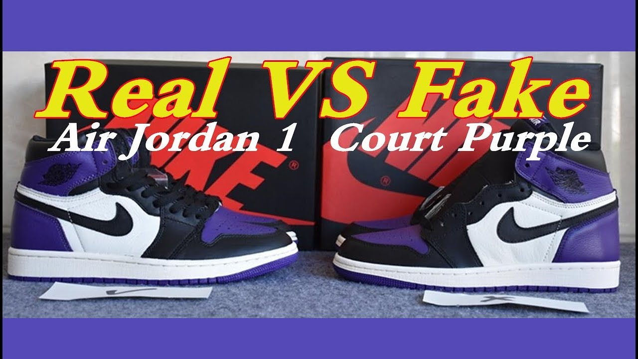 check out c6e80 e2f5b FAKE Vs REAL Air Jordan 1 Retro High OG Court Purple Jordan 1 Court Purple