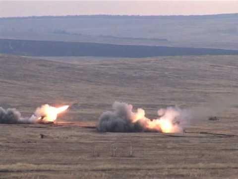 "Залп ТОС-1А ""Буратино"" (firing TOS-1 ""Buratino"" Heavy Flamethrower System)"