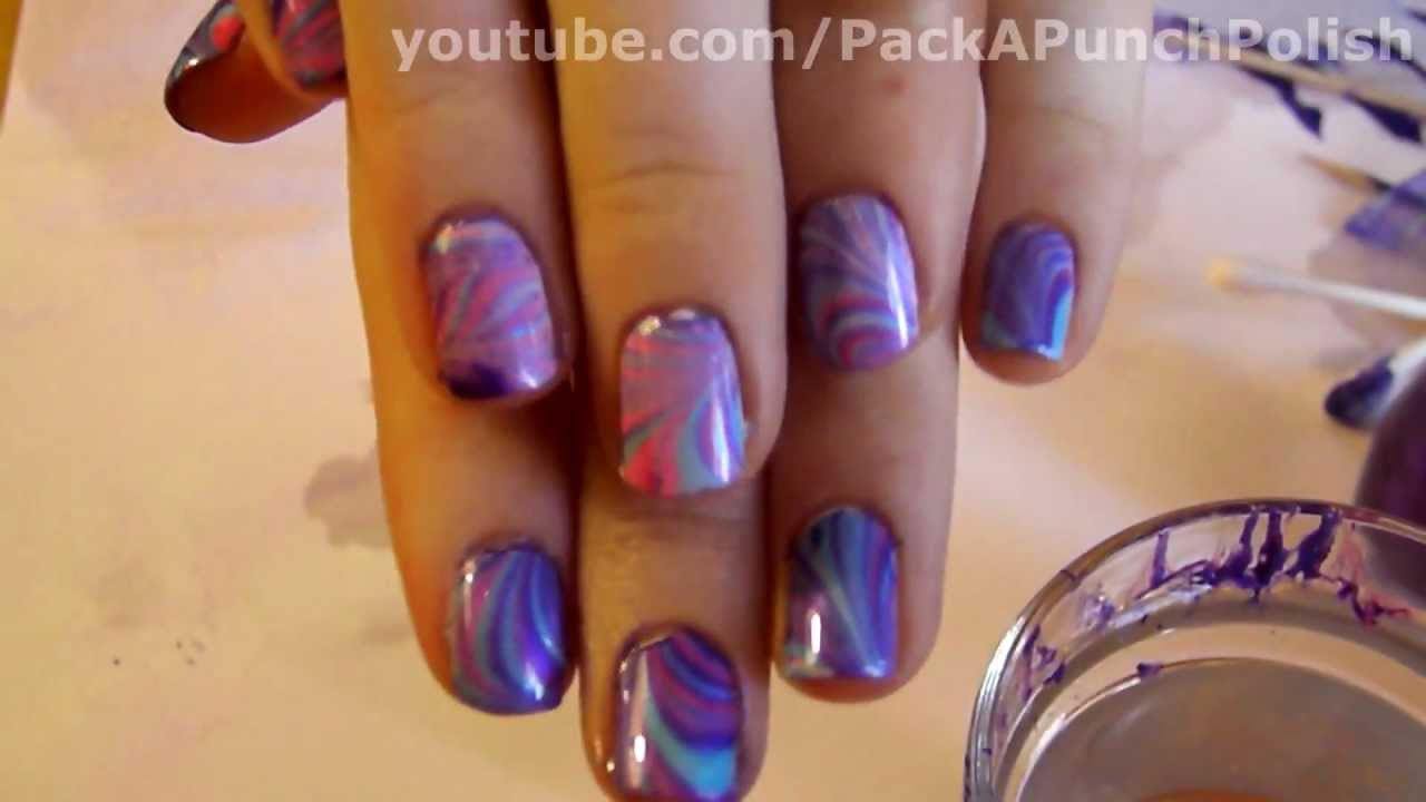 How To Water Marble Nail Art Tutorial Step By Step - YouTube