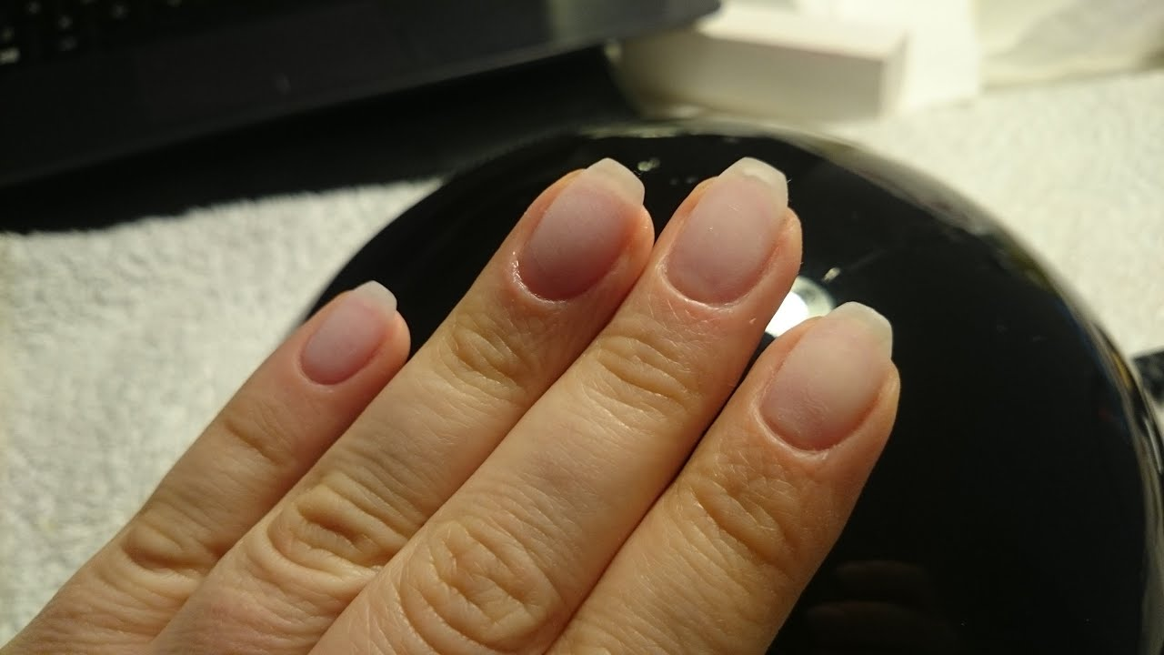 Short coffin shaped nail using Gelish soak off gel - YouTube