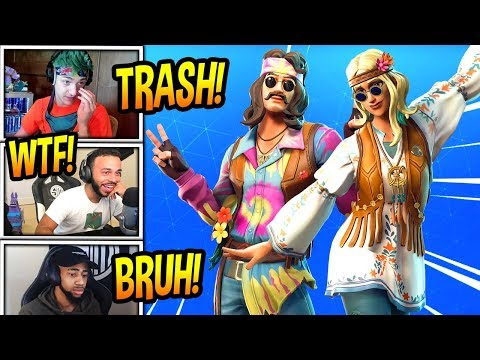STREAMERS REACT TO *NEW* DREAMFLOWER & FAR OUT MAN SKINS! Fortnite FUNNY Moments