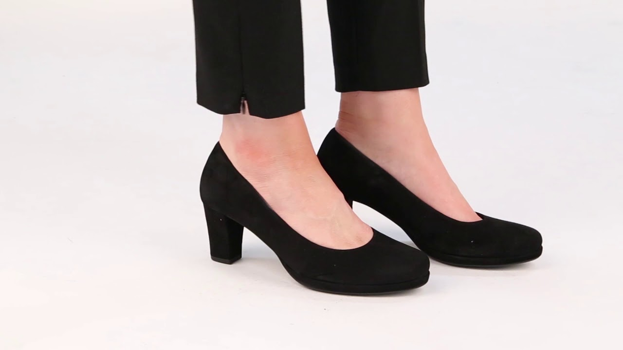 e386895f9b Gabor Ella Black Leather Womens Wide Fit Suede Court Shoes - YouTube