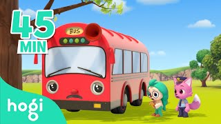 Five Little Buses Jumping on the Road | Compilation | Sing Along with Hogi | Pinkfong \u0026 Hogi
