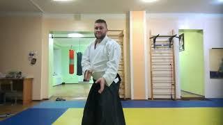 Aikido side punch (yokomen uchi) on boxing bag