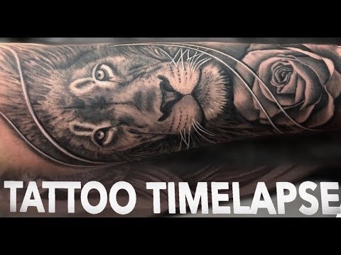 TATTOO TIMELAPSE LION AND ROSE