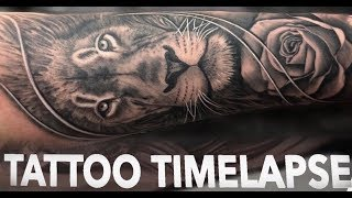 TATTOO TIMELAPSE | LION and ROSE | CHRISSY LEE